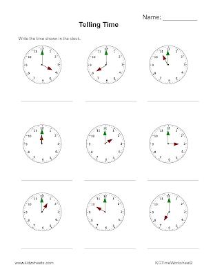 Kidz Worksheets: Kindergarten Time Worksheet2