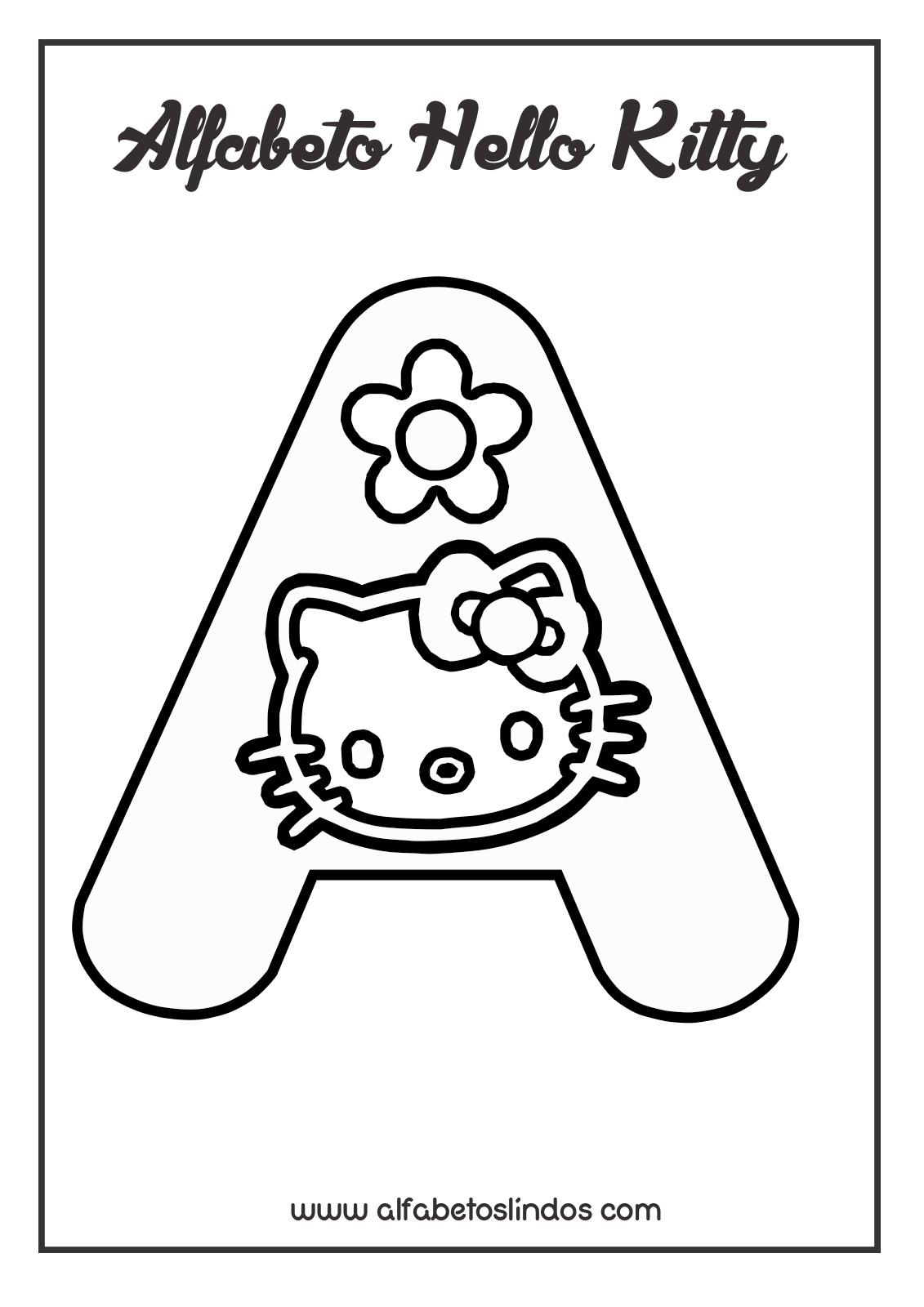 Moldes De Letras Do Alfabeto Da Hello Kitty Para Imprimir E