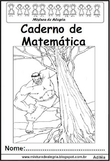 Capa para caderno matemática Hulk