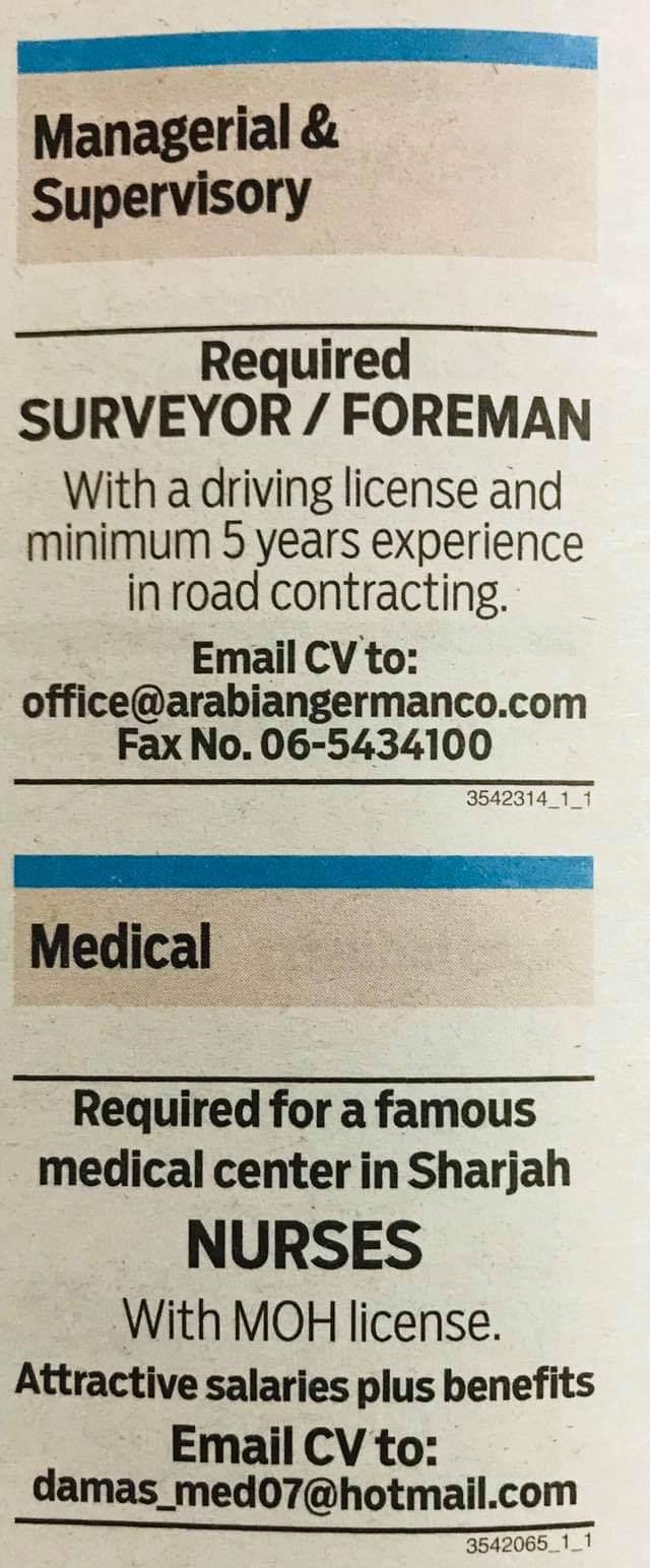 Required Surveyor/Foreman & Nurses for UAE Local Hiring JOBS Khaleej