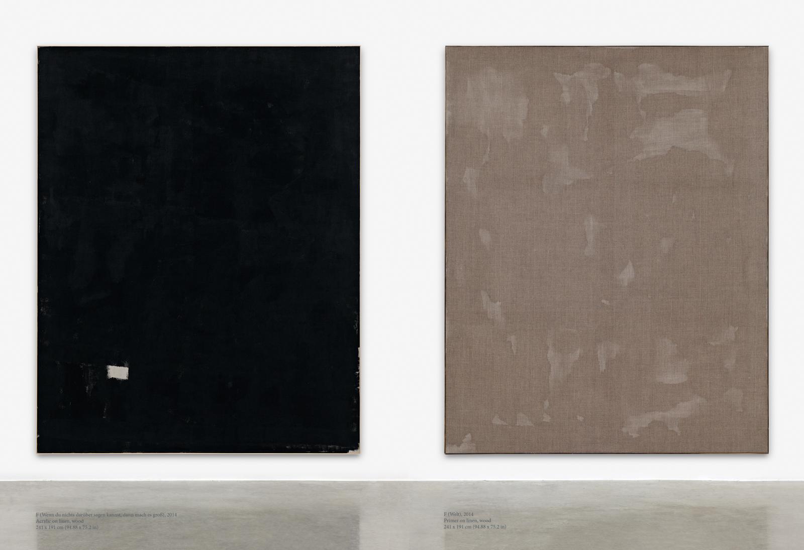 David Ostrowski, F (Wenn du nichts darüber sagen kannst, dann mach es groß), 2014, Acrylic on linen, wood, 241 x 191 cm (94.88 x 75.2 in), F (Welt), 2014, Primer on linen, wood, 241 x 191 cm (94.88 x 75.2 in)