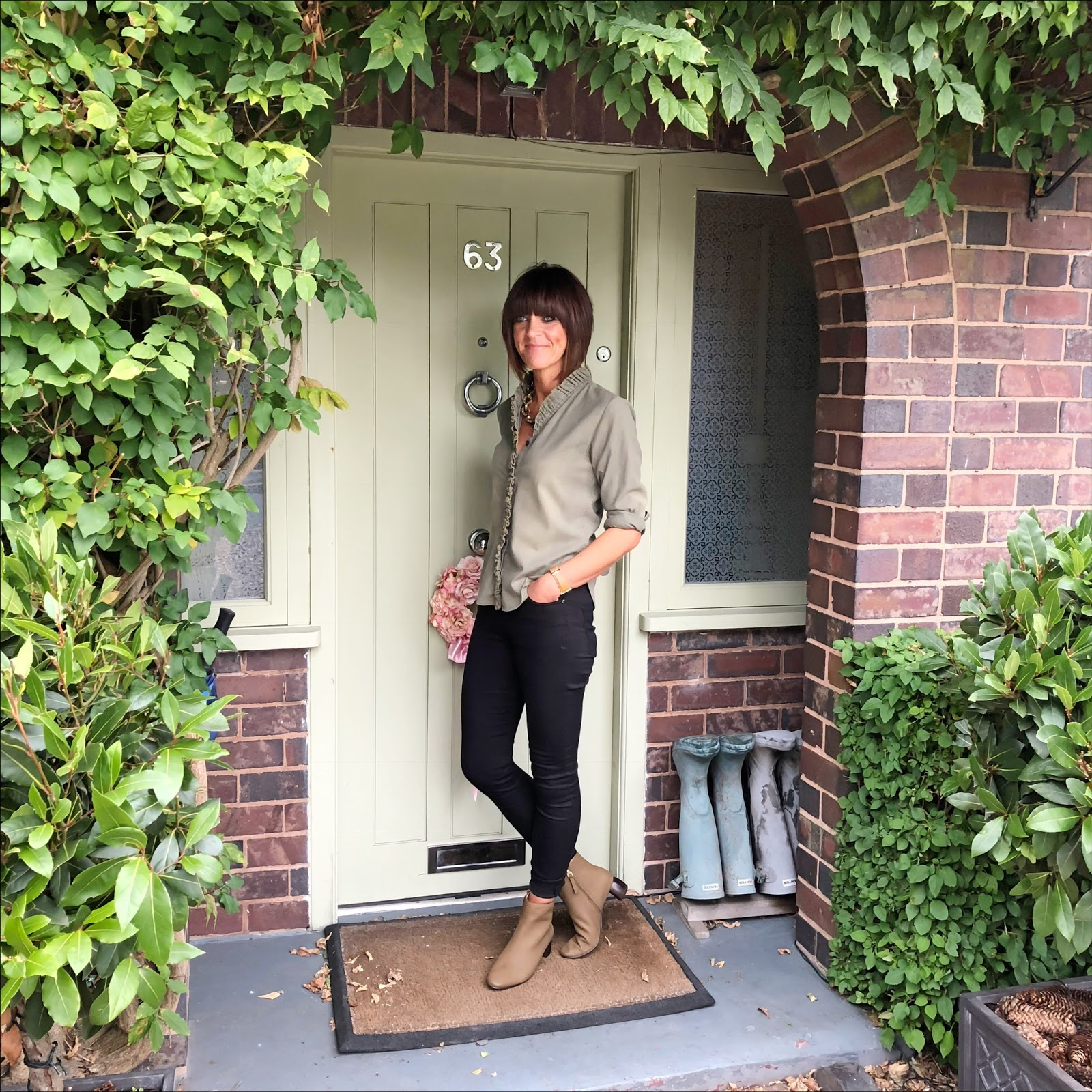 my midlife fashion, isabel marant lawendy ruffle trimmed stretch cotton shirt, clarks grace bella khaki nubuck ankle boots, donna ida rizzo jeans
