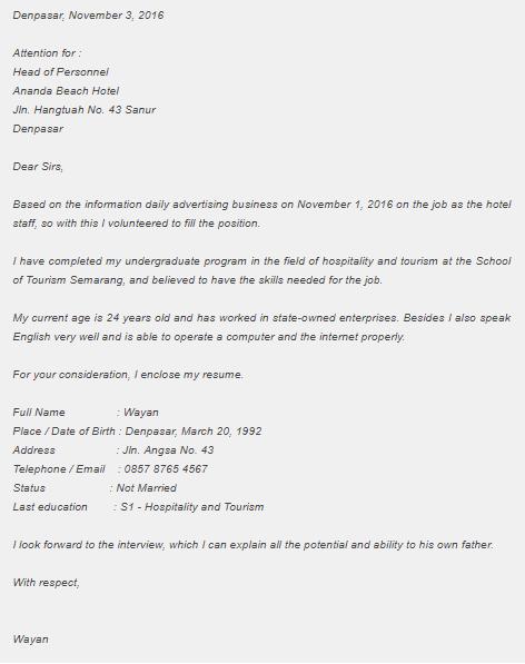 Contoh Surat Lamaran Kerja Bahasa Inggris Dan Curriculum Vitae Cv