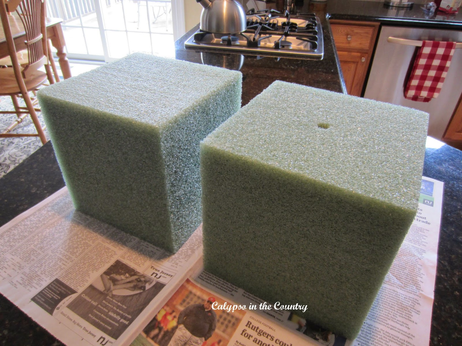Foam blocks to fill urn on front porch