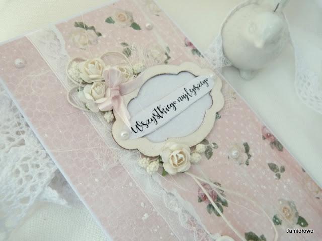śliczna kartka shabby chic z białymi różami