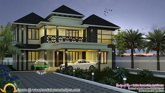 Superb sloping roof house plan