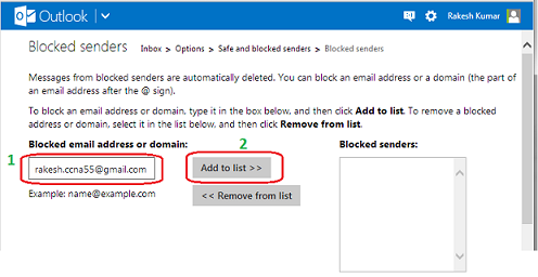 Block Email Sender in Hotmail