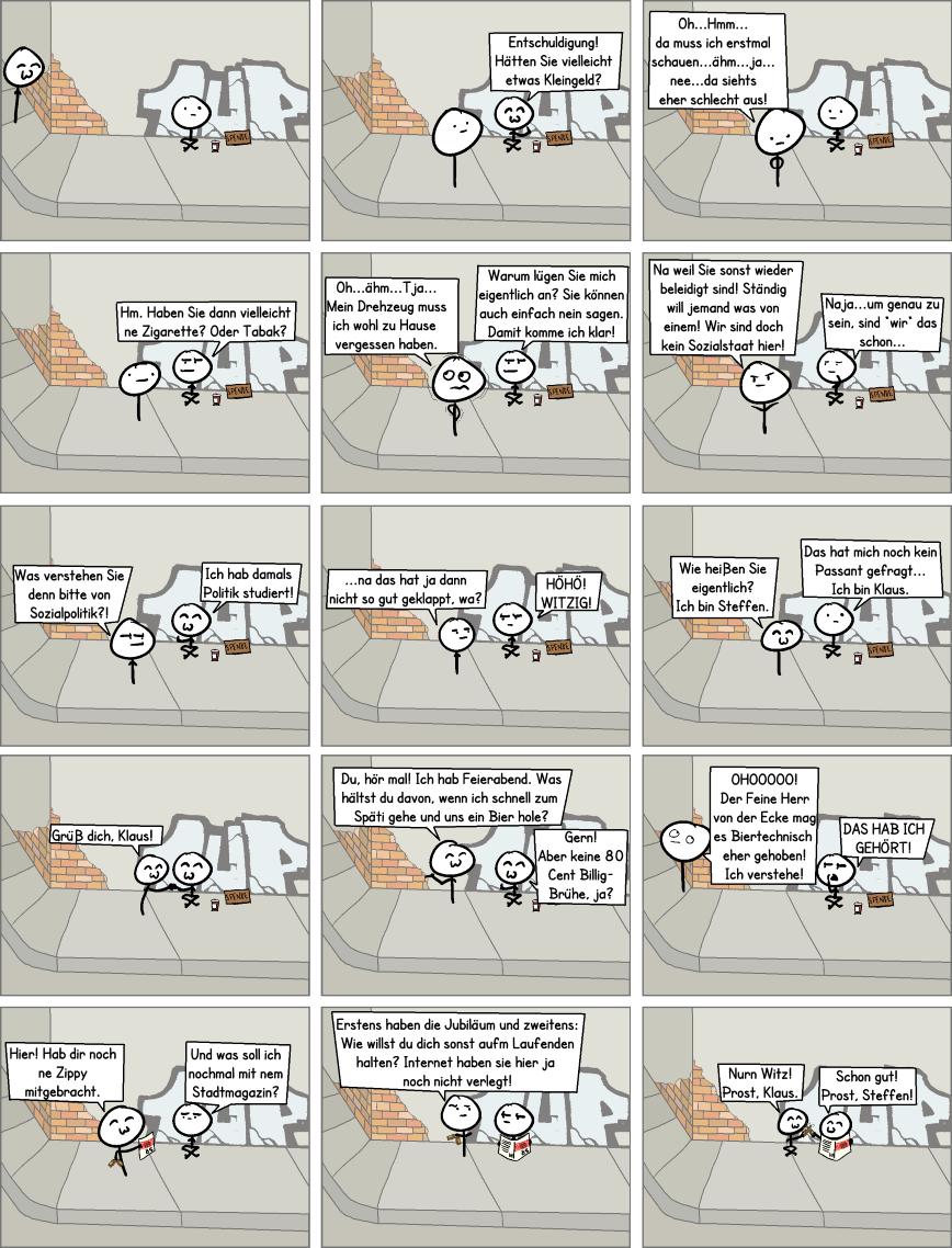Comic zum 25. Jubiläum der Stadtmagazine Zitty und tipp