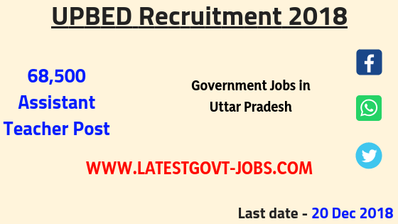 UPBED Recruitment 2018 - 68,500 Assistant Teacher Jobs for B.Ed / B.T.C / UPTET / CTET
