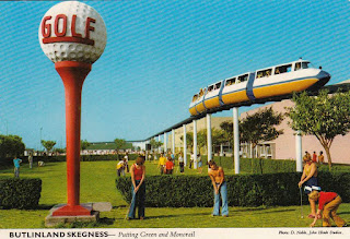 Butlinland Skegness - Putting Green and Monorail by John Hinde Studios. Sent on 4 Aug 1980