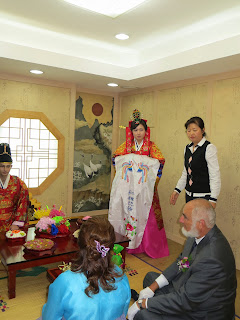 Traditional Korean wedding ceremony at wedding hall - ceremony starts