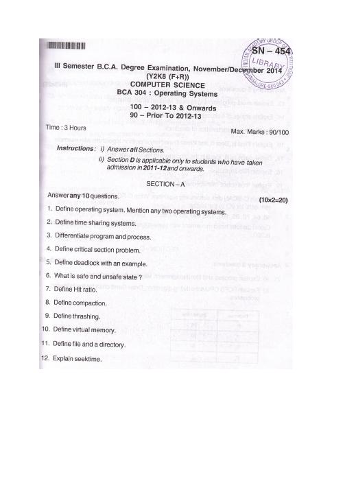 Bangalore University Operating Systems BCA 304 Computer