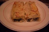 Canelones con espinacas y queso