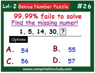 Math Puzzle: Find the missing number: 1, 5, 14, 30, ?