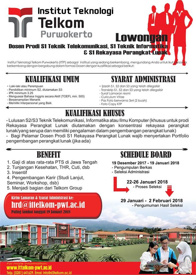 Lowongan Dosen Institut Teknologi Telkom Purwokerto (ITTP) Teknik Informatika, Telekomunikasi, RPL