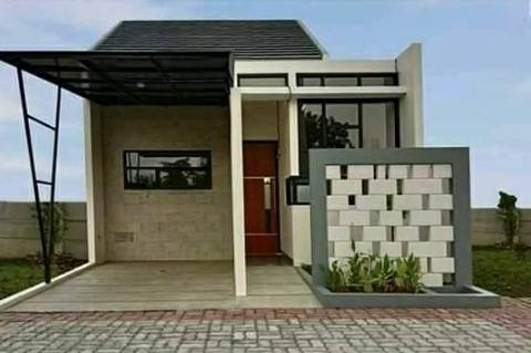 Tampak Depan Rumah Minimalis Type 30 Aksen Batu Alam
