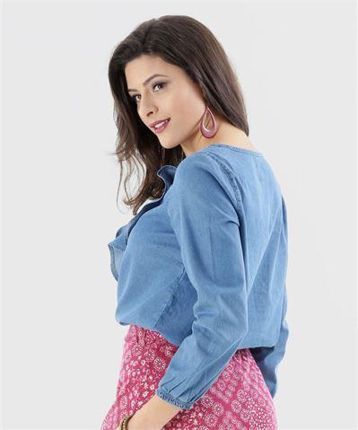 Moda marisa Camisa Feminina Jeans 7/8 Babado