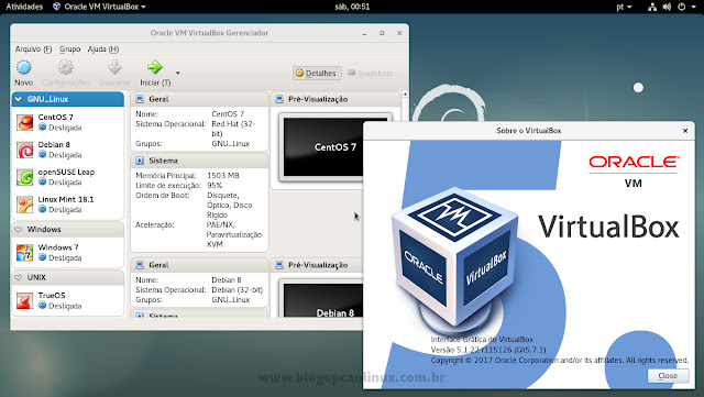 Oracle VM VirtualBox executando no Debian 9.0 Stretch