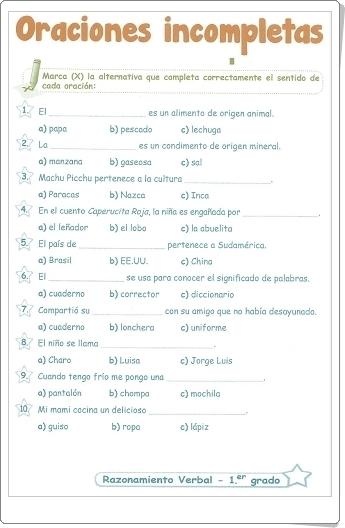 """""""Oraciones incompletas"""" (Fichas de Lengua Española de Primaria)"""