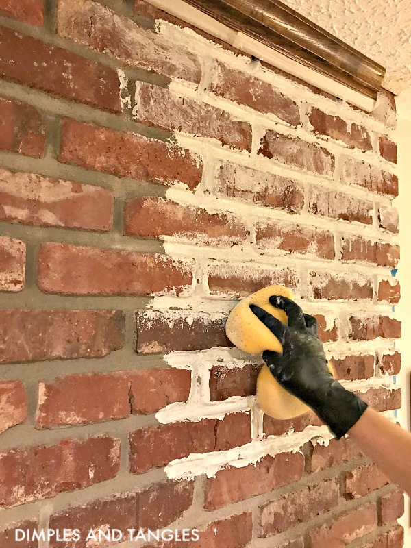 MORTAR WASH BRICK FIREPLACE MAKEOVER - Dimples and Tangles