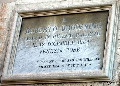 Plaque to Robert Browning, Ca' Rezzonico, Venice.