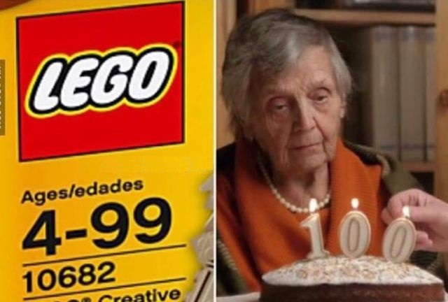 Funny When you turn 100 and can't play with Lego anymore Picture