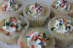 Cake Batter Mini Cheesecakes #desserts #cakerecipe