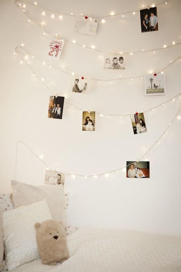 Guirnalda de luces en la pared