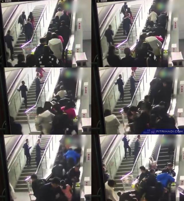 VIDEO Kemalangan Eskalator Melawan Arah China