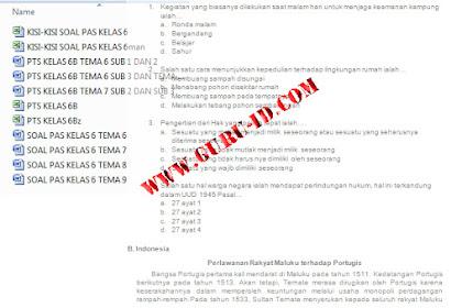 Download soal tematik kelas 6 Kurikulum 2013 Revisi