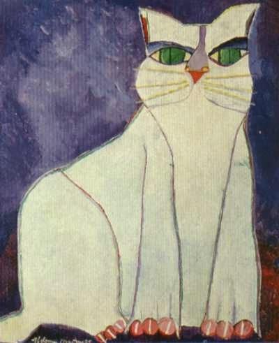 Gato Branco - Aldemir Martins e suas pinturas ~ O pintor de gatos