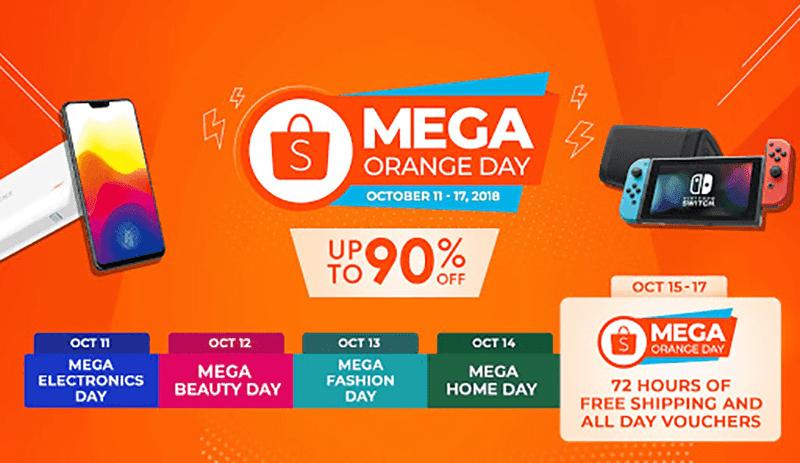 Shopee's Mega Orange Day sale will go on until October 17