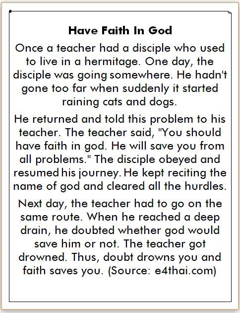 Cerita Bahas Inggris Tema Religi dan Terjemahan