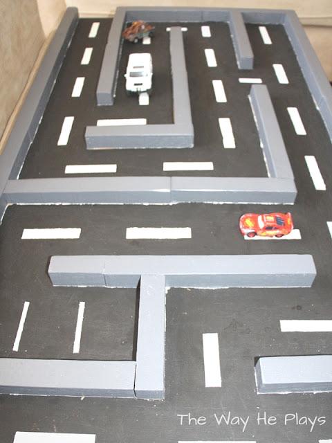 Parking spot on wooden car maze