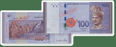 Wang Kertas Dan Duit Syiling Malaysia Siri Baharu - RM100