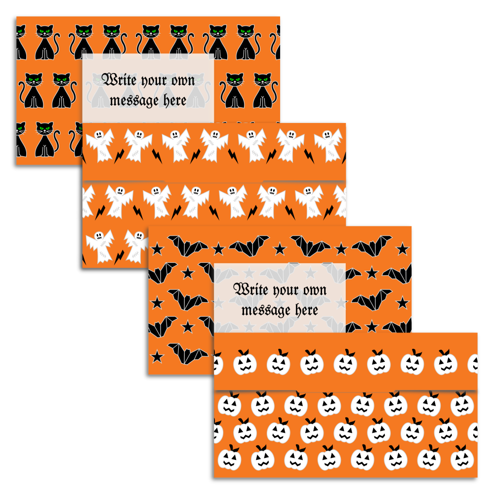 Set of four Halloween pattern money gift envelopes from A four Printables.