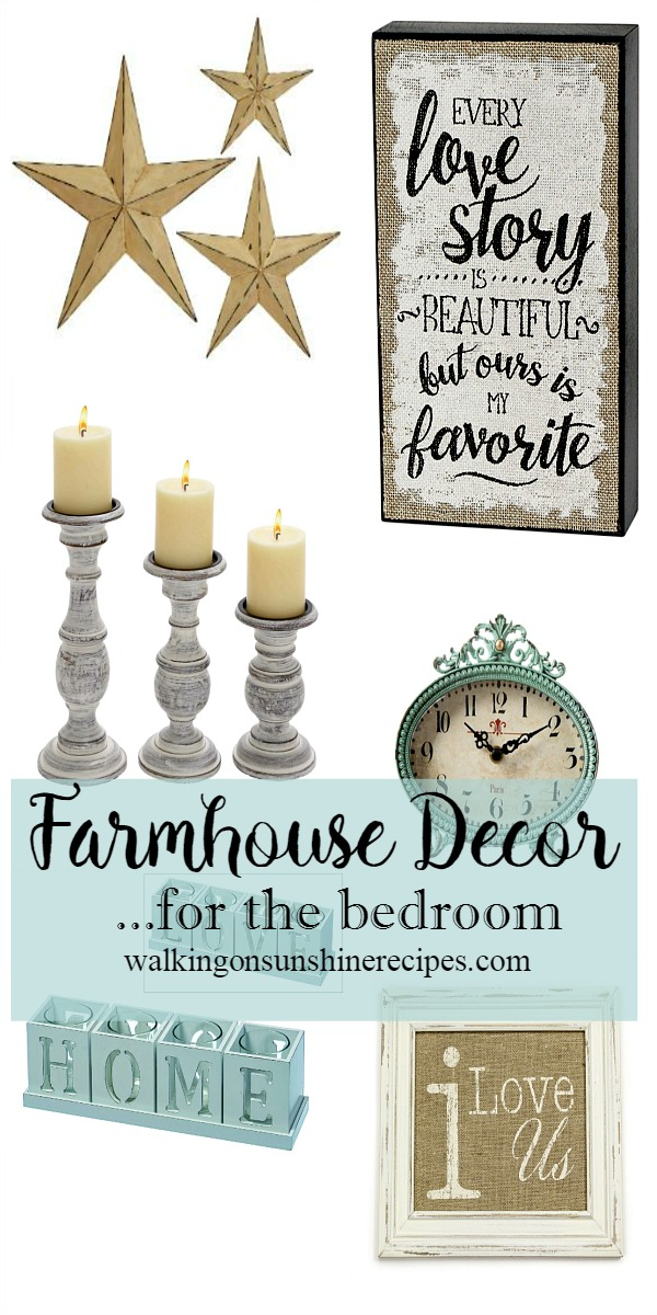 Farmhouse decor for the bedroom from Walking on Sunshine Recipes.