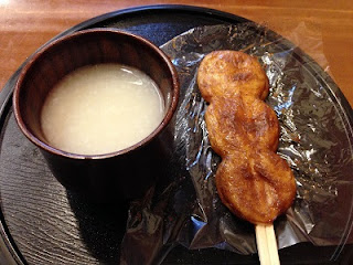Amazake ; a sweet drink made from fermented rice (Lt), Mochi ; Rice cake (Rt)