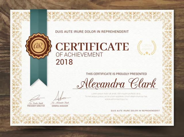 Certificados psd y vector para editar gratis La Web del Diseñador - certificado de reconocimiento para imprimir