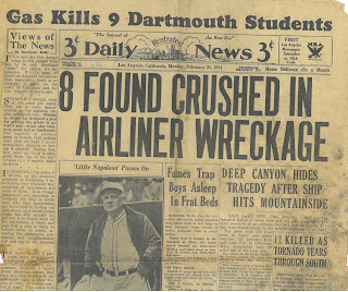 "Daily Illustrated News, Los Angeles, CA, Monday, February 26, 1934, Front Page. Headline reads ""Gas Kills 9 Dartmouth Students"" Other articles on page."