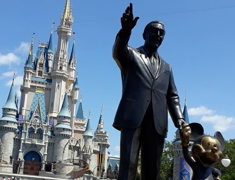 Cinderellas Castle Magic Kingdom with Walt Disney and Mickey Mouse