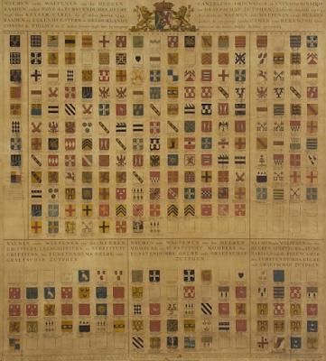 Wapenkaart van de leden van het Hof van Gelre 16e eeuw