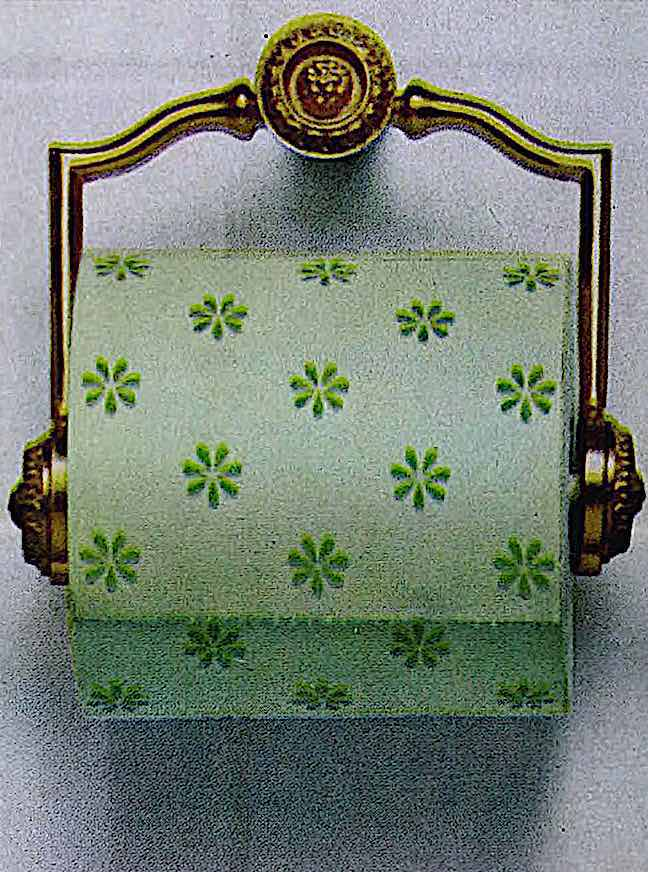 a color photograph of 1966 toilet paper with green starbursts