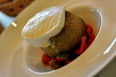 Eggplant, Buffalo Mozzarella, and Tomato Flan at Osteria del Castello - Gaiole in Chianti, Italy - Photo by Taste As You Go