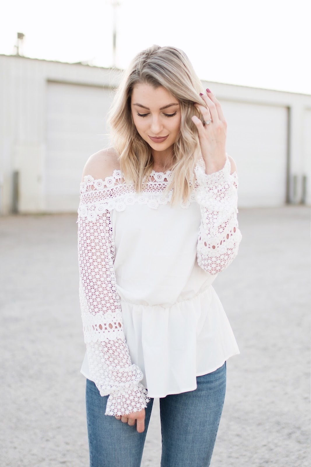 lace off-the-shoulder top for spring