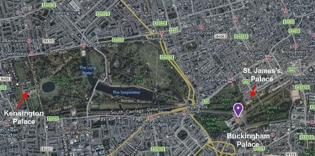 Google Map of London, showing Kensington Palace, Buckingham Palace, and St James's Palace