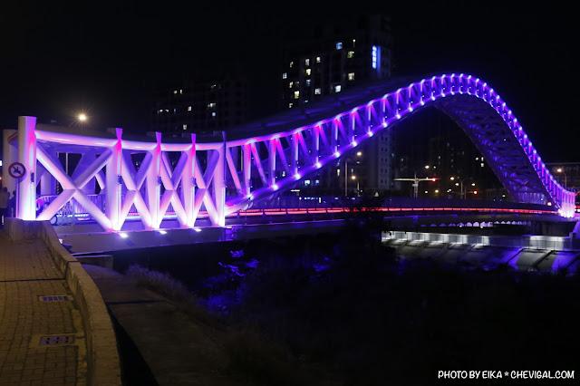 MG 0669 - 台中景點│橫跨旱溪的紫藍色彩海天橋,夜裡不可錯過的迷人紫調!