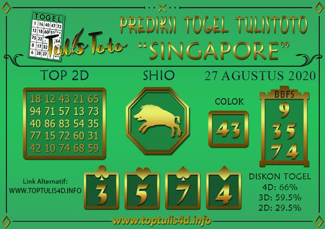 Prediksi Togel SINGAPORE TULISTOTO 27 AGUSTUS 2020