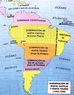 Dibujo del Mapa de la Gobernacion de Nueva Castilla y Nueva Toledo a colores