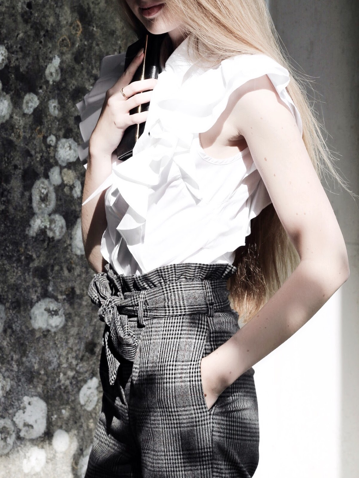 Karen Millen The Super Frill white sleeveless shirt